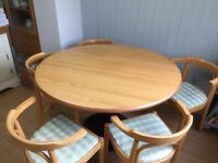 120 cm round beech table and five chairs