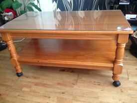 Wooden glass teapoy for sale (price negotiable)