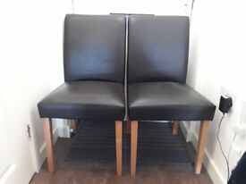 2 BROWN PVC & WOOD DINING CHAIRS £10