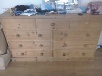 Double solid pine chest of drawers