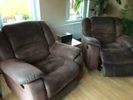 3 seater sofa recliner and two rocker recliners