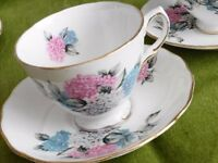 BONE CHINA VINTAGE CUPS AND SAUCERS SET OF TWO