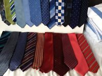 Men's Ties, quantity 22, Various Colours, Next, M&S, and others, mostly silk, some used once only