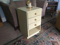 "Three Drawer Bedside Cabinet. Height 27""/69cm Width 16""/41cm Depth 16.5cm/42cm"
