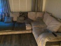 Large Grey fabric Right hand Corner Sofa