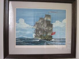 Large limited edition print of sailing ship 'Bounty'