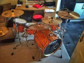 Tama Superstar Orange Satin Flame drum kit, Black panther, Iron Cobra, Zildjian