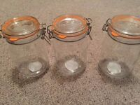 3 x 1 Litre Capacity Kilner Jars in perfect condition. Collect Only from Canonbury.