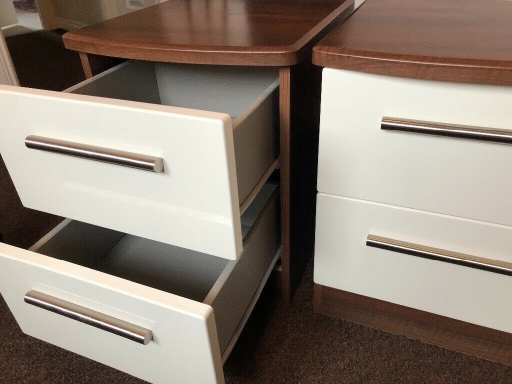 Walnut And Gloss Cream Bedside Table Set In Bonnybridge