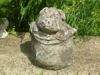 VINTAGE CAST STONE CUTE FUNNY PIG IN SACK GARDEN ORNAMENT / GARDEN STATUE