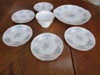 Colclough China – Coppelia pattern – 8378 Cake plate, sugar bowl & 5 side plates