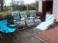 Job Lot of Loungers and Folding Chairs for Garden or Camping £1 each or £5 the lot