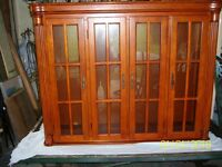 BEAUTIFUL YEW WOOD GLASS CABINET WITH LIGHTS.
