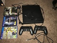 * * * PLAYSTATION 4 SLIM 500GB with 2x controllers and games