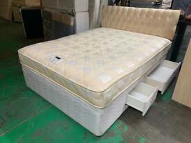 King divan bed with 4 draws matress and headboard