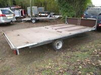 GALVANISED & BRAKED 14 X 7-6 FLATBED TRAILER (1500KG) WITH HEADBOARD....
