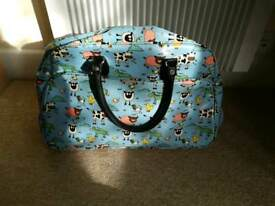 Wheeled holdall, weekend travel luggage bag, vegan bag, pin up style.