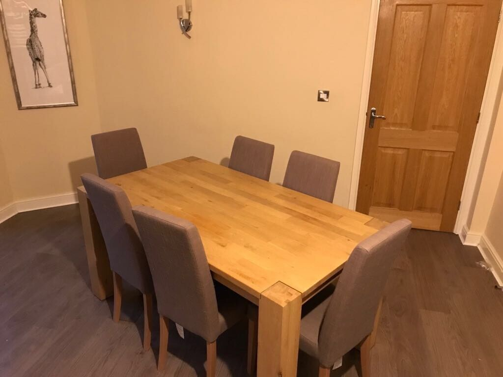 Solid Wood Dining Table 6 Chairs REDUCED TO SELL