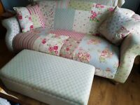 DFS 3 seater patchwork sofa & matching storage/footstool