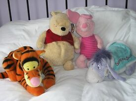 SOFT TOYS - POOH BEAR, TIGGER, EEYORE AND PIGLET