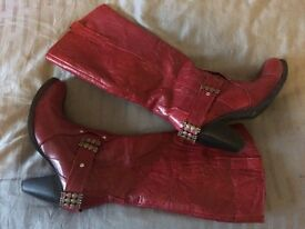 Leather boots Red size 6