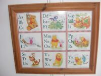 WINNIE THE POOH ALPHABET PICTURE IN PINE FRAME