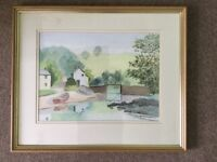 Original Watercolour of Pont Pill, Cornwall (after Kerris) by Bill Johnson April 2002