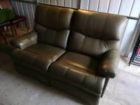 Recliner Sofa- Two Seater, Olive Green, Drapers
