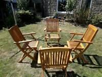 Garden chairs teak folding unused
