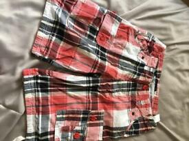 Size 30 waist check shorts red