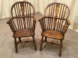 2 Antique Windsor Chairs - Child's / Miniature Carver Pair - Doll / Teddy Bear Chair - See Delivery