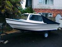 Dejon 14ft boat with trailer / outboard / cover / fenders / fueltank / anchor