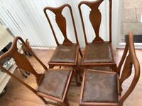 x4 Old Solid Oak Wood Chairs- Ideal For Upcycling Projects!
