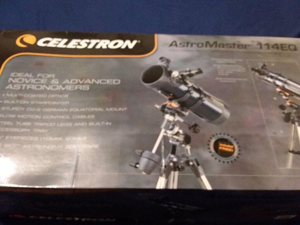 Telescope celestron astromaster eq boxed as new in bolton