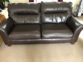 G Plan leather 3 seater sofa in chocolate brown
