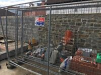 Heras fencing panels, with feet and clips