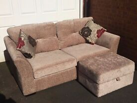 3 Seater Sofa with foot stool and cushions, brand new condition