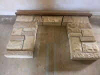 Sandstone Fire Surround with Teak finish mantle and sandstone hearth