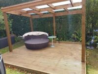 9 sqr mtrs TIMBER DECKING with OUTDOOR LIVING area
