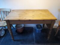Pine kitchen table and 2 chairs
