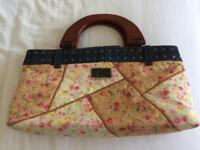 Guess floral patchwork bag with wooden handles