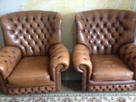 CHESTERFIELD CHAIRS ,TAN LEATHER