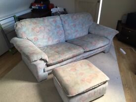 Large Comfy Sofa with matching footstool.