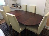 Wood table 6 chairs