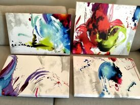 Collection of 4 Modern Art Abstract Canvas Prints on Wooden Frames 60 x 50 cms& 60 x 40 cms