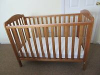 Excellent Mothercare Takeley Cot in Pine, Matress, Matress Protectors, Sheets