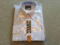 Men's Marks & Spencer white long sleeve tailored fit shirt NEW size 14.5 collar