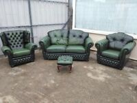 Chesterfield leather 4 piece suite, colour royal green, can deliver.