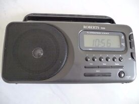 Roberts radio with clock and alarm. Mains /battery-power adaptor included