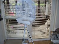 New White Bird Cage and Stand cage width 14inch x 19inch height
